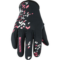 Madison Element youth softshell gloves, black / pink glo
