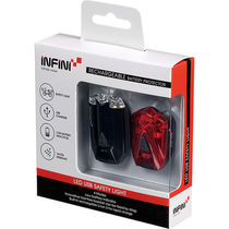 Infini Lava twin pack micro USB front and rear lights black